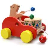 hölzernes pädagogisches Weg-Spielzeug-Tierkarikatur-Gegenkraft des Baby-3D entlang Spielzeug-Auto