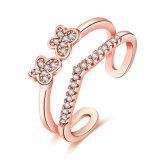 로즈 금이 나비 지르콘 열리는 반지 인공적인 보석을 도금했다