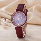 Montre de mode de luxe de femme de cadeau de courroie en cuir d'OEM de montre (Wy-123B)