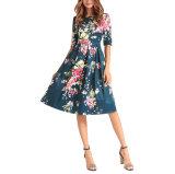 Party Casual Plus Size 2018の方法女性袖なしの膝の長さは安くファブリック女性の服を印刷した