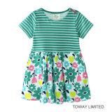 소녀를 위한 여름 복장을 인쇄하는 새로운 줄무늬 아기 의복 꽃
