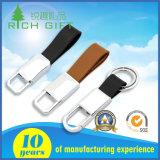 中国の製造者の短い革バンドとのカスタムブランク金属亜鉛合金銀によってめっきされるCarabiner Keychain