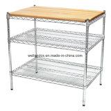 NSF Estantes de arame de aço inoxidável cozinha industrial Prep e mesa de trabalho com topo em madeira