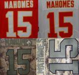 Beste Douane Geborduurde #15 Patrick Mahomes Stitched Beperkt Jersey