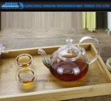 Teapot de vidro desobstruído Handmade da flor 600ml com filtro inoxidável