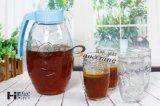 5 Fles van het Glas van het Water van de Thee van de Melk van het Sap van het stuk de Vastgestelde met Mooi Plastic Deksel
