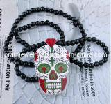 Estilo veraniego joyería fina joyería// Natural arbolado de la cabeza el cráneo Hecho a mano Collar con cordón de las cadenas (PN-047)