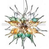 Lampe à soupe de chandelier à carreaux en verre moulé soufflé à la main