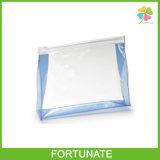 Bolso plástico del embalaje del PVC del claro Ziplock cosmético con el resbalador
