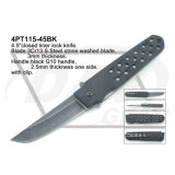 "4.5 ""Fecho fechado Liner Lock G10 Handle Knife with Stone Washed: 4PT110-45bk"