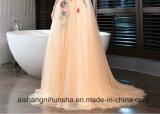 В торжественных мероприятий Champange кружева цветочного Sexy V-образный вырез горловины долго платье Ппзу Openboot