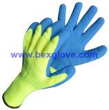 Doublure de polyester de 10 mesures, balayée, enduit de latex, gant de fini de pli
