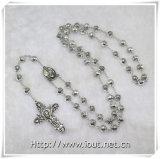 Rose cuentas de aleación de zinc con Cruz de Jesús con rosario Fashion cadena de perlas collar rosarios diseño (IO-cr366)