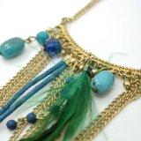自然な石造りの金属のアクリルの緑の羽のふさのペンダントのネックレス