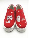女性のゴム製Outsole (ET-OW160119W)の偶然のプラットホームのズック靴