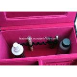 Motif noir en bois, décoration en feutre rose Design d'accessoires pour bijoux et cosmétiques Affichage 2 niveaux Ensemble de boîtes de rangement avec verrou et clé