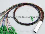 tipo d'acciaio divisore ottico del tubo di 1*2 1*4 1*8 1*16 1*32 del PLC della fibra con i connettori di Sc/APC 0.9mm G657A