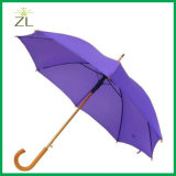 까만 진한 색 승진 고품질 주문 로고 자동 나무로 되는 똑바른 우산 8 관 및 열려있는 설명서