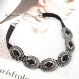 Collana di cuoio nera ovale del Choker placcata argento antico