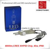 Luz de Aluminio del Coche LED LED del Faro 4800lm del LED del CREE Xhp50 del Color Blanco Brillante Linterna-Estupendo de la Viruta 40W