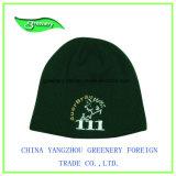 正常な深緑色の刺繍のWniterのニットの帽子