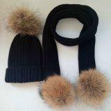 Cappello alla moda del Knit con i cappelli di inverno di modo della pelliccia POM POM del Raccoon