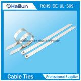 Regelmäßiger normaler Edelstahl-Kabelbinder mit der Rollenkugel, die 4.6X200mm sperrt