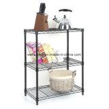 Черные Epoxy Coated 3 полки удваивают регулируемый домашний держатель шкафа хранения книги кухни