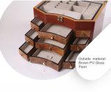 引出しが付いている木の宝石箱を塗るブラウンPU