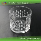 Tarro de cristal caliente de la vela con la tapa de cristal