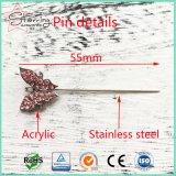 Pin de la bufanda del Islam del metal de la pista de la mariposa del cristal de 55m m