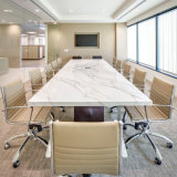 8人の電子ソケットが付いている白く光沢度の高い現代人工的な大理石の上のU字型スマートな取締役会議表の会議の席