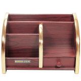 Gran capacidad de almacenamiento de madera Escritorio Titular con borde dorado