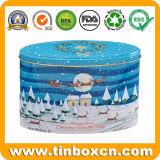 Grande estanho oval gravado do Natal para a caixa de empacotamento do presente do metal