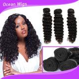 A melhor qualidade da venda por atacado profunda da onda da extensão do cabelo humano de 100%