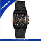 Faixa impermeável elegante do couro genuíno do relógio do esporte