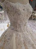 シャンペンのサテンの穴のストラップレスのウェディングドレス