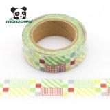 Rayas y verificaciones mezcladas multicoloras Washi japonés de cinta de papel