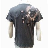 140 gramos de descarga de productos químicos de Impresión Negro Hombres camiseta Custom