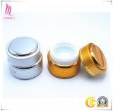 Tarro redondo de oro/de la plata de la porcelana de la crema