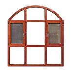 シンプルな設計の網が付いている木製の穀物の開き窓の寝室のWindows