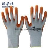 Померанцовой перчатки промышленной работы латекса покрынные пеной трудные защитные