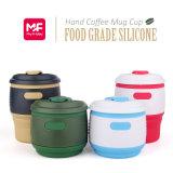 De draagbare Opvouwbare Kop van de Koffie van het Af:drukken van de Douane van het Silicone met Deksel