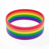 Jóia Lesbian alegre de borracha do Wristband de Mutilayered Lgbt do bracelete novo do orgulho do arco-íris do silicone da forma 2017