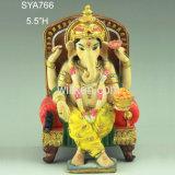 Deus Hindu religioso da sorte da estátua de Ganesha da resina com congregação