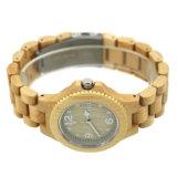 2018 Relógios de pulso de madeira couro homens OEM o logotipo personalizado por grosso de madeira de bambu assistir