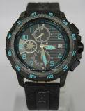 Cuarzo de alta tecnología Luminova del reloj del ejército de la fibra del carbón