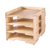 4 capas de DIY de la oficina del organizador de escritorio de madera del papel