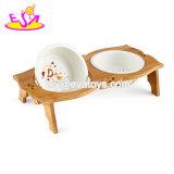 Bacia levantada de madeira natural barata por atacado do cão com as bacias da cerâmica para os gatos e os cães W06f053