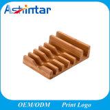 Ahorro de espacio de escritorio 6 del organizador en 1 sostenedor de carga del soporte de bambú
